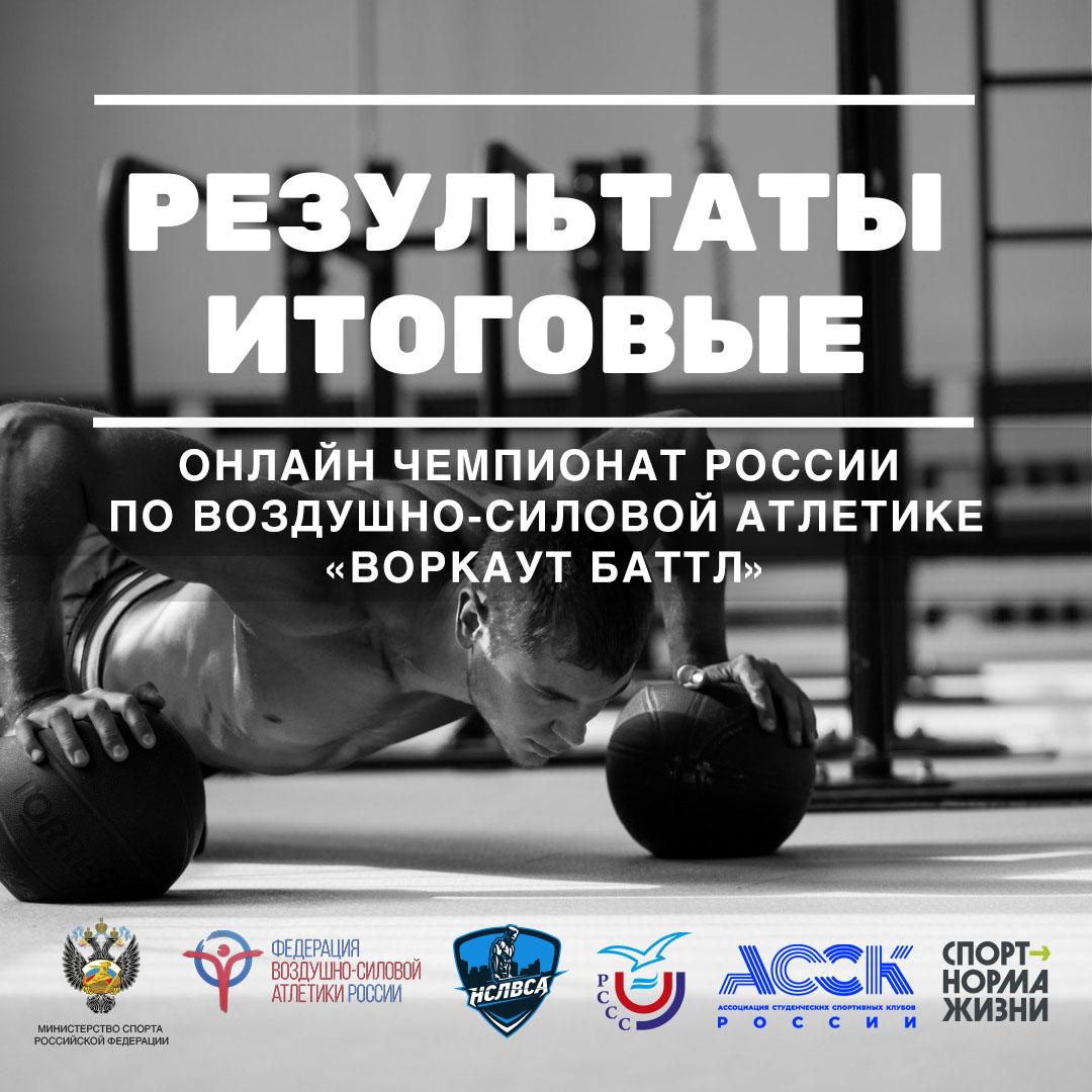 В НСЛВСА подвели итоги онлайн-Чемпионата России по воздушно-силовой атлетике среди студентов